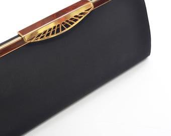 Black and gold vintage handbag/clutch