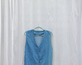 Sara vintage pale denim sleeveless vest