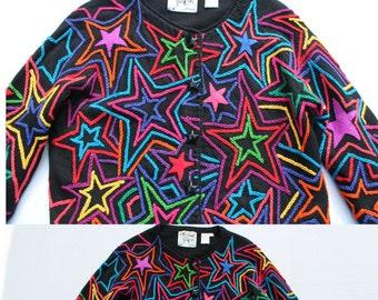 Stars Vintage Jacket -Embroidered star blazer-black coat - vibrant bright retro novelty night- petite-designer - Avant Garde -large