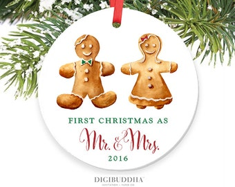 First Christmas as Mr and Mrs Christmas Ornament Newlywed Christmas Gingerbread Ornament 1st Christmas First Married Ornament Wedding Gift