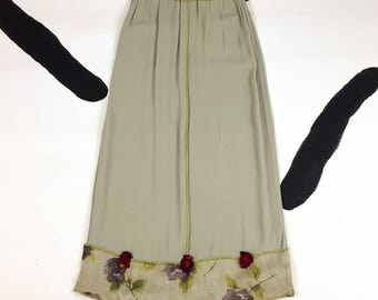 90s Ultra Grunge Romantic Dusty Sage Green Maxi Skirt with Exposed Seams and Rosettes / Floral / Size Medium / Blossom / 90210 /