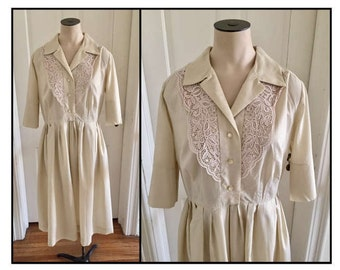 Vintage 1960s Misses' Lily Lynn Young Size Shirt Dress Beige Lace New 8 10