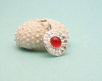 Carnelian and Silver Tortoise Necklace - One of a Kind Necklace - Sixth Anniversary Gift