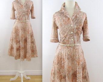Fauna Shirt Dress - Vintage 1960s Full Skirt Shirtwaist Dress in Small