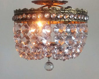 Vintage Chandelier Antique Flush Mount Chandelier 2 Lights and 21 Big Gorgeous Prism Strands ++ Sparkle & Shine WOW!