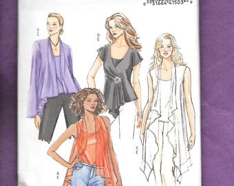 Butterick 4989 Misses' Tops And Camisole With Flowing Cascade Open Front, Sizes Large (16-18), & Extra Large (20-22), UNCUT