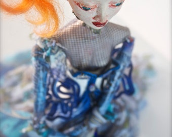 Ooak art doll Blue Lady with red ginger hair and halloween face ...