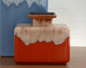 Haeger Fire Orange & Beige Brown Drip Glaze Ceramic Square Vase #4082