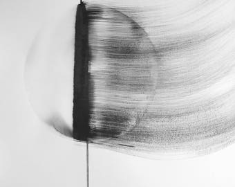 "A2 Original Hand Painted Contemporary Abstract Black and White Ink Wash Painting 16.5x23.4 ""Untitled 2120"""