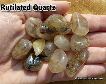 Rutilated Quartz Rutile tumbled stone for crystal healing — multiple sizes available
