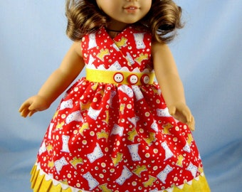 Doll Clothes 18 Inch - Puppies - Fits American Girl Dolls - Puppy Sundress and Hair Bow - Doll Clothing