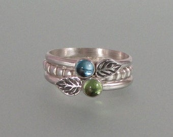 Leaf stacking rings set of three - elven leaf rings - sterling silver nature inspired boho rings - blue topaz and peridot stack rings