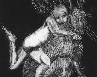 Circus Print. Black and White. Etching. Theatrical Artwork. Fantasy print. Surreal. Fairytale. Hare Rabbit. Imaginative. Unique Illustration