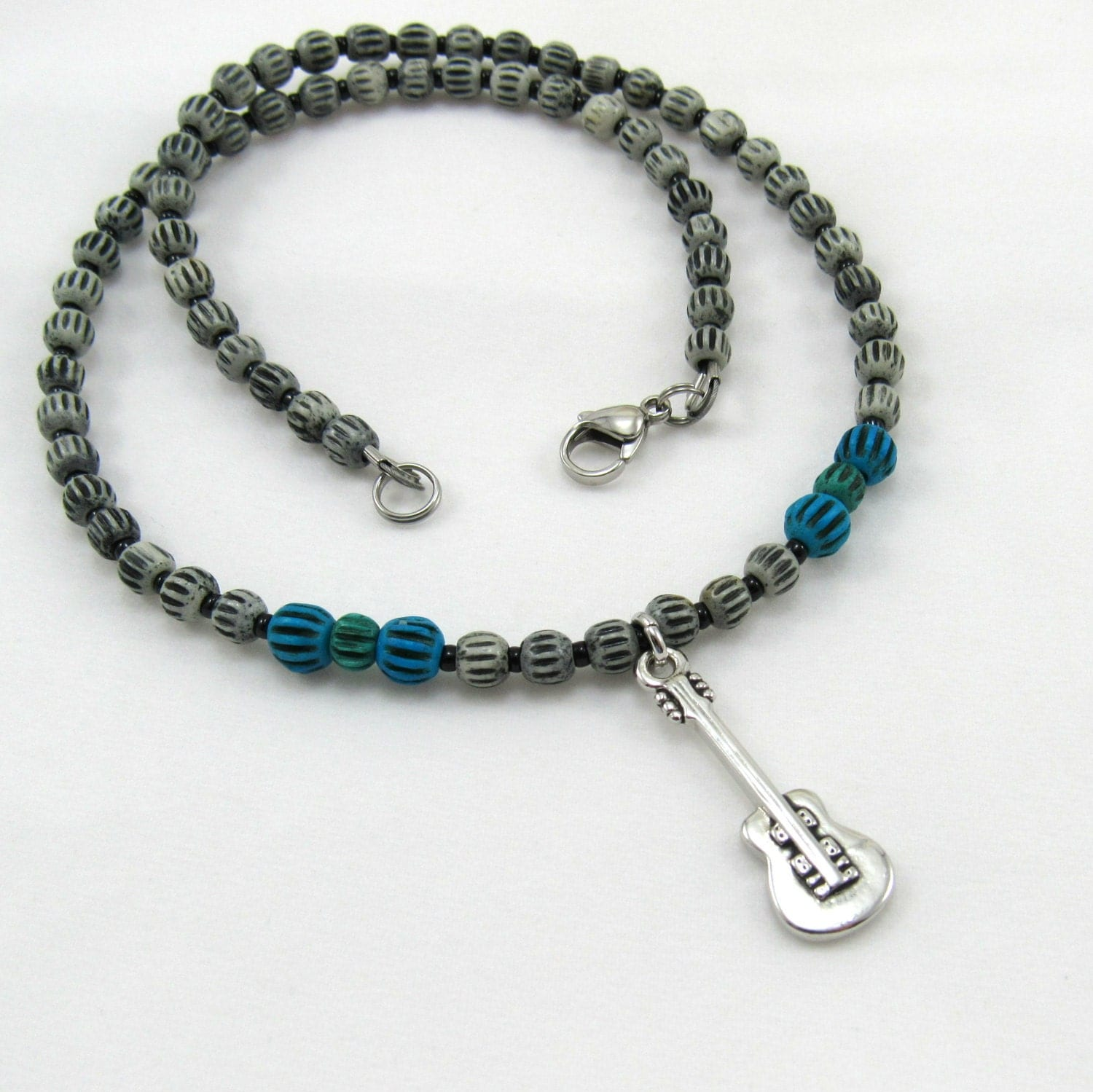 boy s jewelry beaded necklace with guitar charm dyed