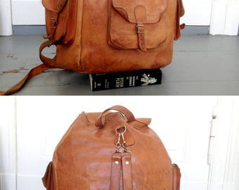 Natural leather backpack leather rucksack VIRGILE