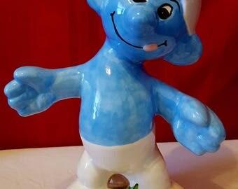 "Smurf Figure - Smurf Statue - Ceramic Smurf Statue - Large Ceramic Smurf Figure - 13""T x 10""W"