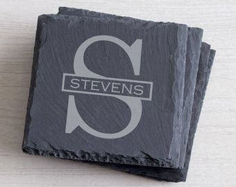 Personalized Slate Coasters Set of 4:  Personalized Stone Coasters, Custom Personalized Groomsmen Gift, Groomsmen Coaster Set, SHIPS FAST