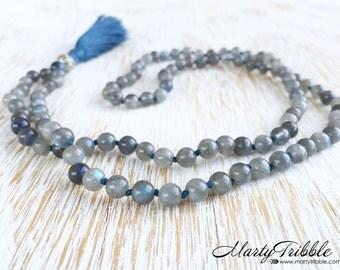 Labradorite Kayanite Mala Beads, Labradorite Mala Beads 108, Mala Bead Necklace, Mala Necklace, Meditation Beads, Japa Mala, Prayer Beads