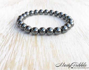 Hematite Bracelet, Metallic Gray Bracelet, Mala Beads Bracelet, Buddhist Jewelry, Mens Bracelet, Gemstone Bracelet, Healing Crystal Bracelet