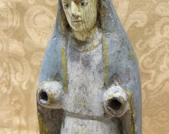 Saint Anne Santos, Antique Hand Carved Bulto from Philippines