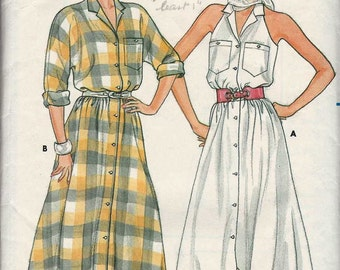 Sewing pattern Butterick 3225 Shirtdress notched collar button thru front kimono rollup sleeves or cutaway armholes flared skirt Size 16