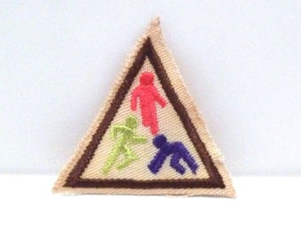 Exercise Embroidered Patch Vintage Running Walking Triangle Patch Girl Scout Badge 1980s 1990s Sports Athletic Jogging Health Girls People