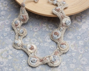 Knitted beige necklace, rustic fiber jewelry with bamboo beads, asymmetric statement necklace, OOAK