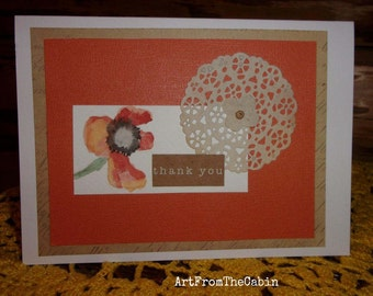 Watercolor Flower, Watercolor Card, Thank You, Mixed Media Card, Orange Flower Card, Card for Mom, Doily Card, ArtFromTheCabin