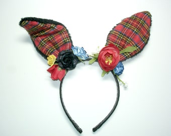 Plaid Flower Bunny Headband,Easter Headband,Girl Headband,Bunny Ears,Women Headband,Harajuku,Lolita,Fairy Kei,Gothic Lolita,Goth,Halloween
