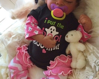 Completed Biracial Kaneya Completed Reborn Baby Doll from the Aisha 20 inch kit