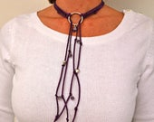 Trendy Wrap Hoop Necklace, Purple Suede Lariat with stone, Flexible Jewelry, Beaded Choker Collar, Wrap Bracelet for daughter gift,