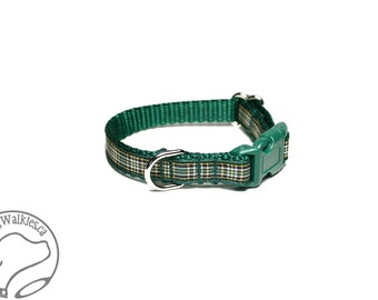 "NEW width - Irish National Tartan Small Dog Collar - Thin Dog Collar - 1/2"" (12mm) Wide - Green Gold Plaid - Choice of collar style and size"