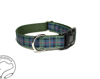 "Flower of Scotland Tartan Dog Collar - 1"" (25mm) Wide - Heather Green Plaid - Matingale or Side Release Buckle - Choice of size & style"