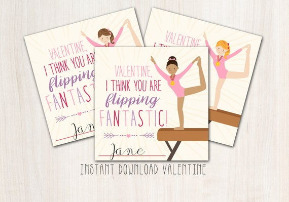 Gymnastics Valentines - DIY Print - INSTANT DOWNLOAD