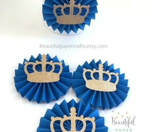 1st Birthday Prince Party Decorations | Royal Blue and Gold Glitter Crown | Little Prince Party| Prince Gold Crown | Candy Bar Paper Rosette