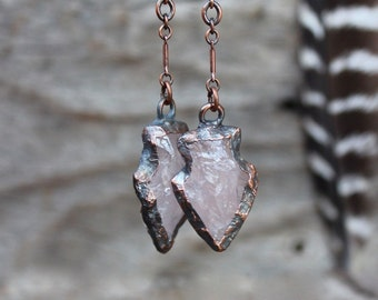 ARROWHEAD Rose Quartz Earrings • Healing Stone • Electroformed • Boho Style • Copper • Nature Inspired