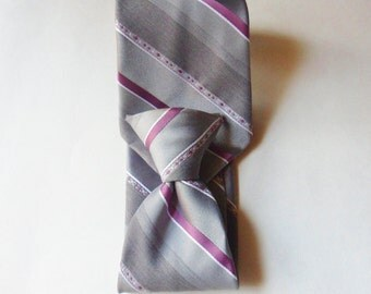 Gray and Burgundy Striped Clip-On NeckTie, Ketch Snap On Tie