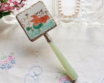 Hand Held Asian Mirror with Jade Handle, Hand Painted Porcelain Mirror Trimmed in Silver, Little Girl and Goldfish