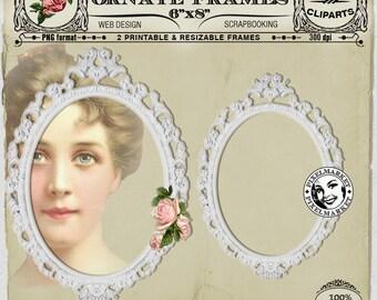 White OVAL ORNATE FRAME cliparts Set Printable Download for Photographer Blog CardMaking Scrapbooking Wedding Frame Stamp Rose clipart Fr11