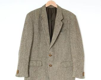 Vintage Harris Tweed Lined Brown Wool Blazer Jacket Retro Men's Large 42R