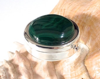Malachite Pill Case - Silver Plated Pill Case - Pill Box - Gift for Mom - Travel Pill Box- Pocket Pill Box -Malachite Cabochon 37mm