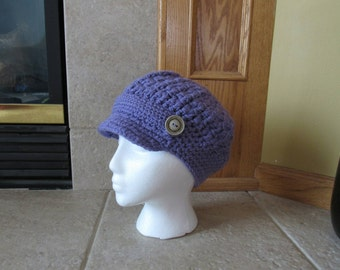 Newsboy Hat, Crochet Newsboy Hat, Knit newsboy cap,  Womens Hat, lavender, purple, Easter, button, maryjane