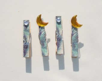 Mini Crescent Moon Decorative Clothes Pins - Set of 4