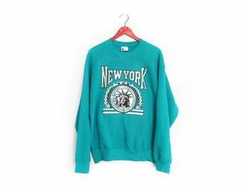 vintage sweatshirt / New York / Statue of Liberty / 1990s New York City teal sweatshirt Large