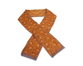 Vintage Oscar de la Renta Silk Scarf Brown and Gold Headwear Ponytail Holder Purse Decoration Neckwear Hair Ribbon
