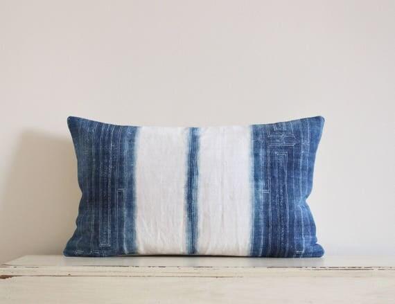 """Vintage Hmong indigo batik pillow cushion cover 12"""" x 20"""""""