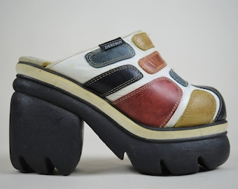 90s Cyber Destroy Patchwork Leather Chunky Bubble Sole Platform Mules UK 3 / US 5.5 / EU 36