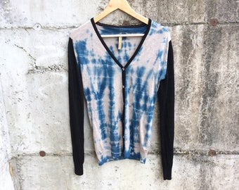 Extra fine Merino sweater size medium, hand dyed cardigan, indigo dyed button down sweater