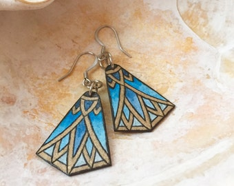 Egyptian Nefertiti Blue Lotus Flower Art Deco Earrings