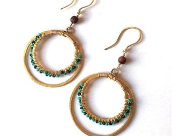 Gold Hoop Earrings - Gold - Hoop Earrings - Turquoise and Dark Green